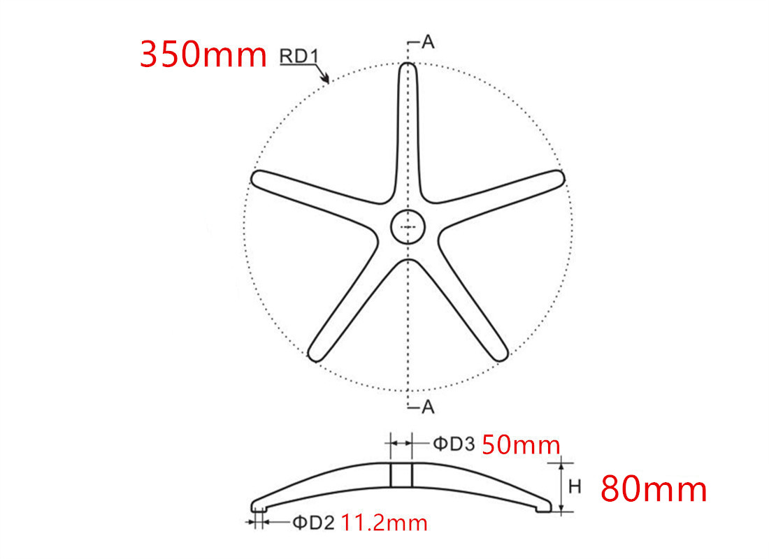 office chair wheel base parts suppliers in China dimension