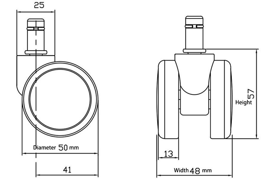 Swivel casters diameter width height measurements