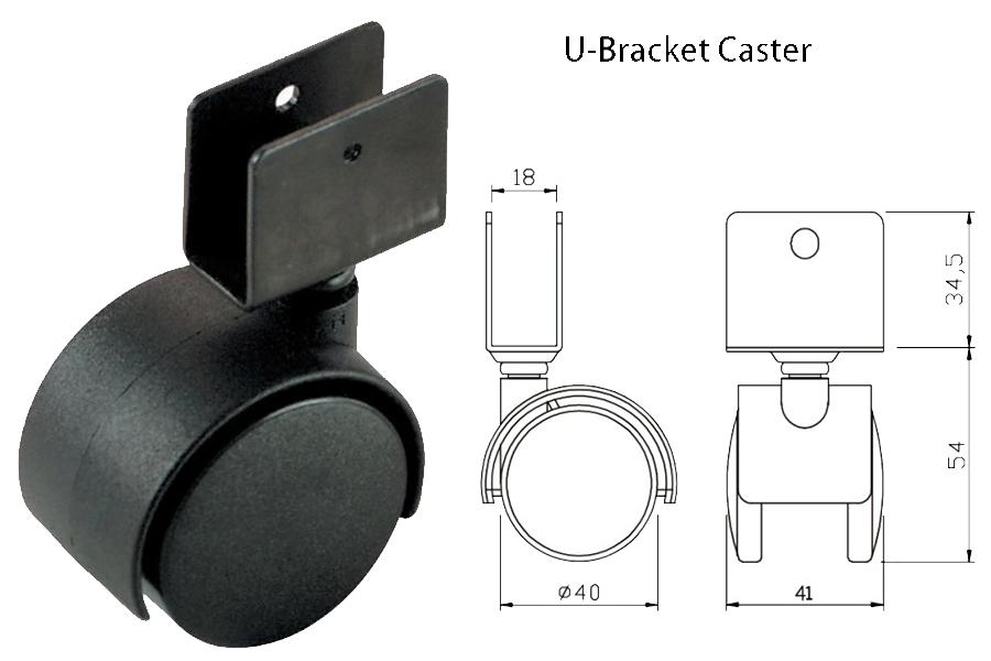 U Bracket Casters measurements